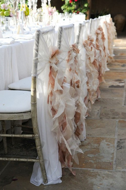 Chair covers draping fabric wedding