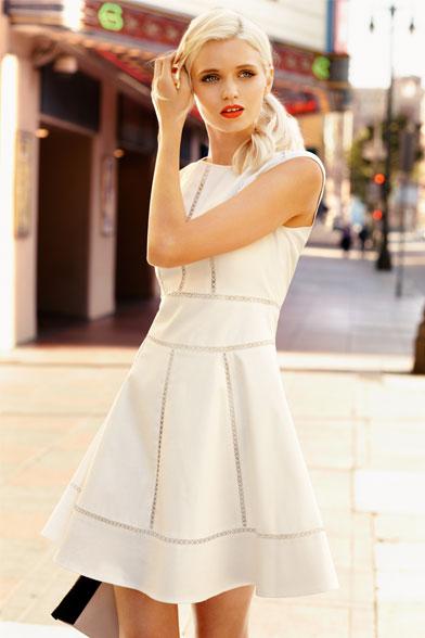 Portmans ss2012 Abbey Lee Kershaw Cream Fit & Flare Dress 129.95
