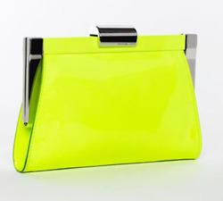 chartreuse clutch with silver trimmings