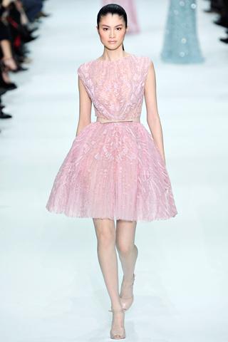 Ellie Saab Spring 2012 couture dress pink