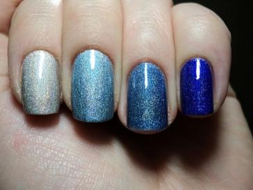 Nail Polish Ombre blue glitter