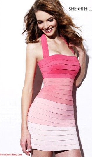 Pink Ombre bandage dress Sherri Hill
