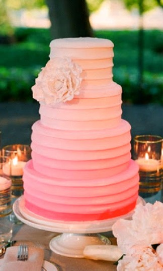 Wedding Cake ombre pink orange