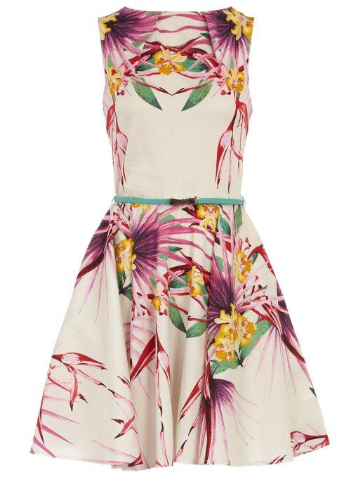 Multi palm print flared dress dorothy Perkins