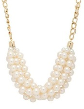 Mood Pearl Multi Row Gold Chain Necklace