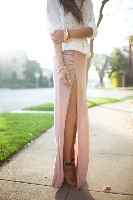 Slit dress fashion ladylikei nude blog trend (10)