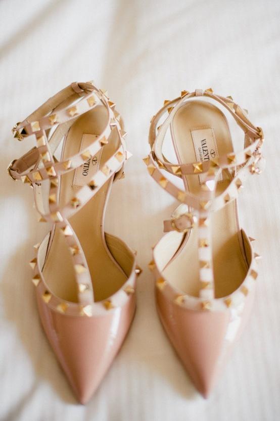valentino rock stud heels nude