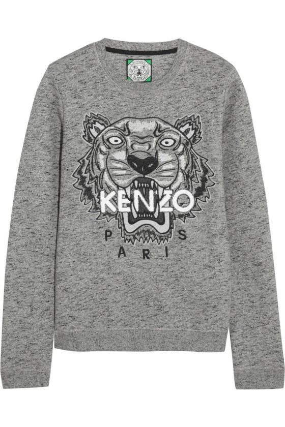 KENZO Tiger embroidered cotton sweatshirt ladylikei