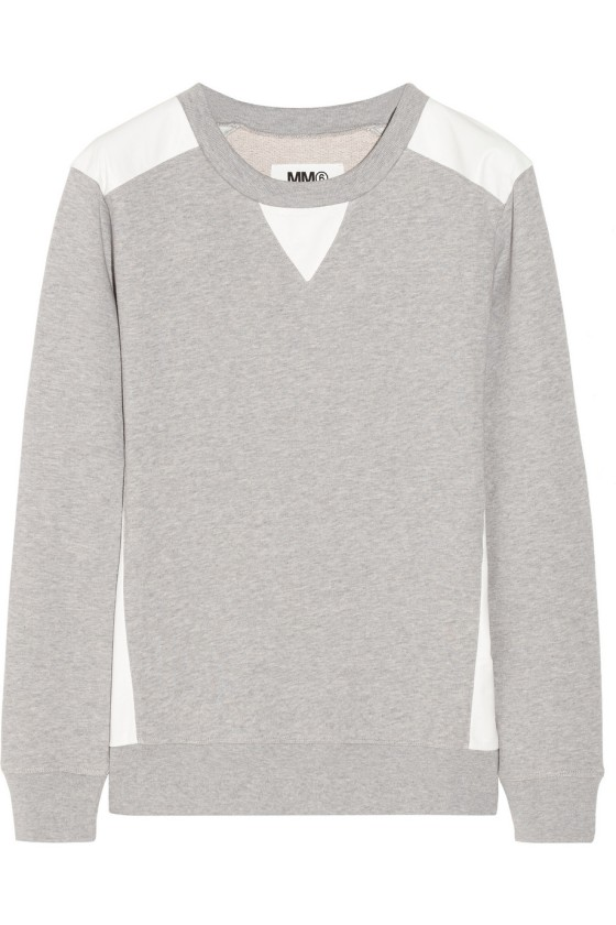 MM6 Maison Martin Margiela Leather-trimmed cotton-jersey top