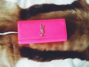 ladylikei fashion ysl pink clutch